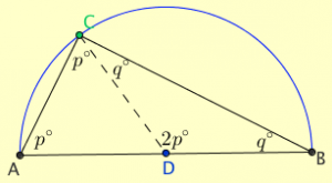 Proof of angle in a semicircle theorem k 12 math problems - Triangle exterior angle theorem proof ...