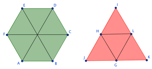 hexagon and triangle
