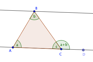 Three proofs that the sum of angles of a triangle is 180 for Exterior angle theorem