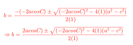 quadratic formula for law of cosines